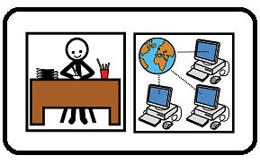 simbolo adattato da ARASAAC di amministrazione (ufficio) digitale (computer connessi a Internet)