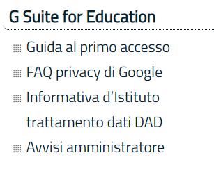 menu g suite for education