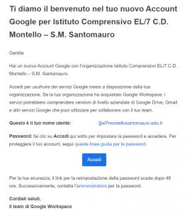 modello email di iscrizione GSuite